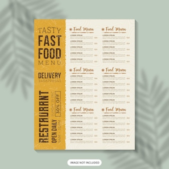 Food menu flyer template design restaurante menu comida menu poster fast food menu menu design template