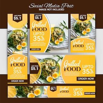 Food social marketing conjunto de mídia