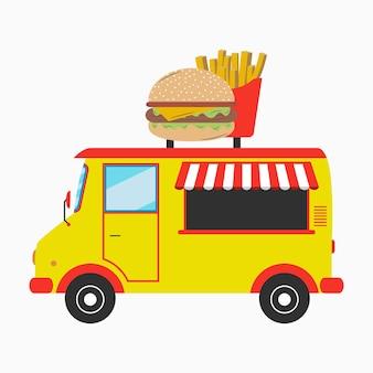 Food truck fast food van com letreiro em forma de hambúrguer e batatas fritas