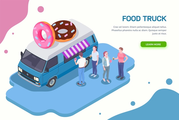 Food truck isométrico horizontal