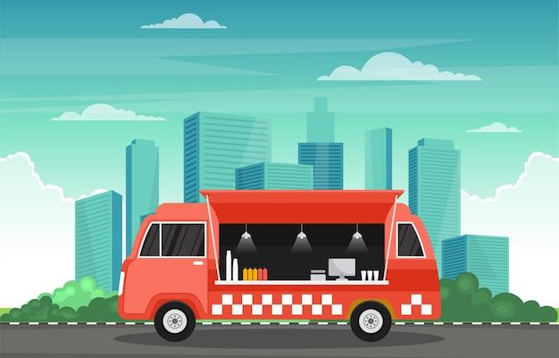 Food truck van car veículo street shop ilustração da cidade