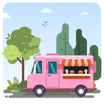 Food truck veículo público ilustração paisagem fundo de céu azul