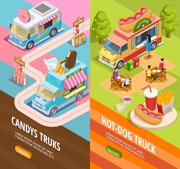 Food trucks 2 banners isométricos verticais