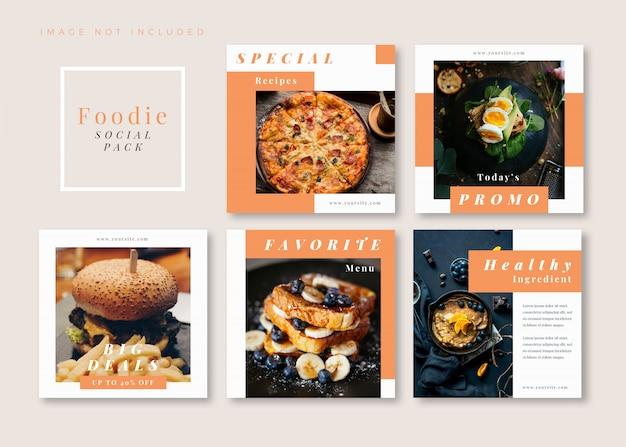 Foodie limpo modelo de mídia social quadrado simples para instagram, facebook, carrossel.