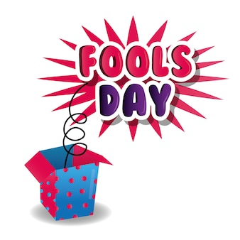 Fools day celebration poster box prank image