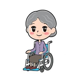 Fora da linha desgaste roxo vovó cadeira de rodas Vetor Premium