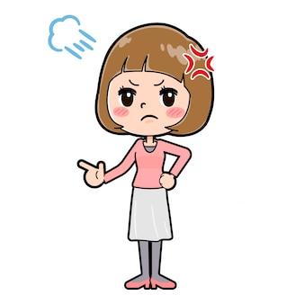 Fora da linha rosa roupas mulheres raiva