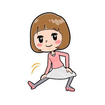 Fora da linha roupas rosa mulheres extensão perna