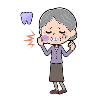 Fora da linha roxo desgaste vovó dor de dente