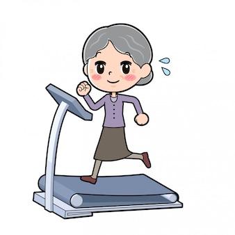 Fora de linha desgaste roxo avó correndo máquina
