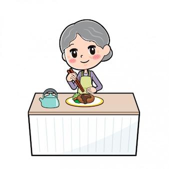 Fora de linha desgaste roxo avó cozinheira empilhamento