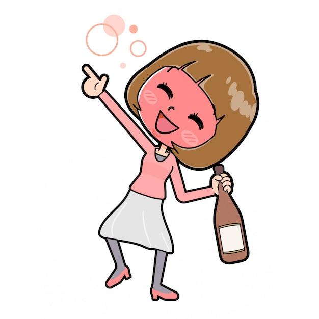 Fora de linha roupas cor de rosa mulheres álcool