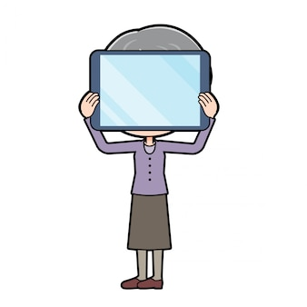 Fora de linha roxo desgaste avó tablet privacidade
