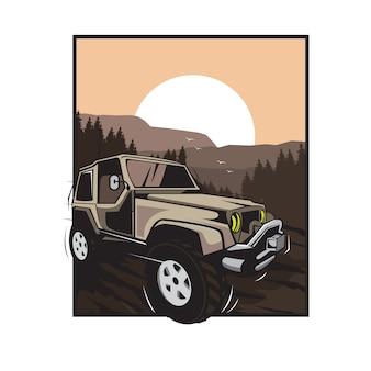 Fora do carro de estrada na ilustração de colinas