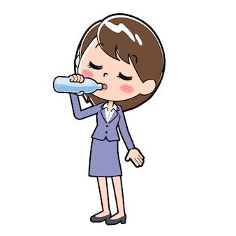 Fora, linha, negócio, mulher, água potável