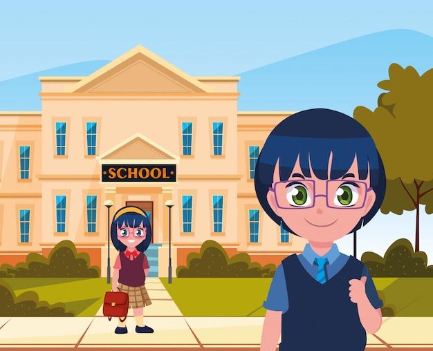 Fora, predios, menino menina, estudante, volta escola