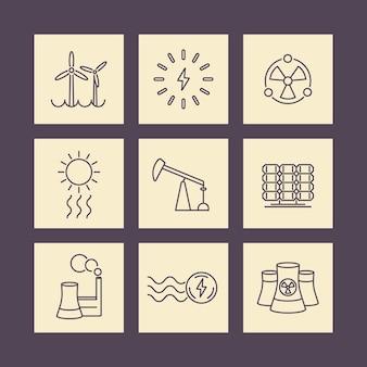 Força, produção de energia, indústria elétrica, ícones quadrados de linha