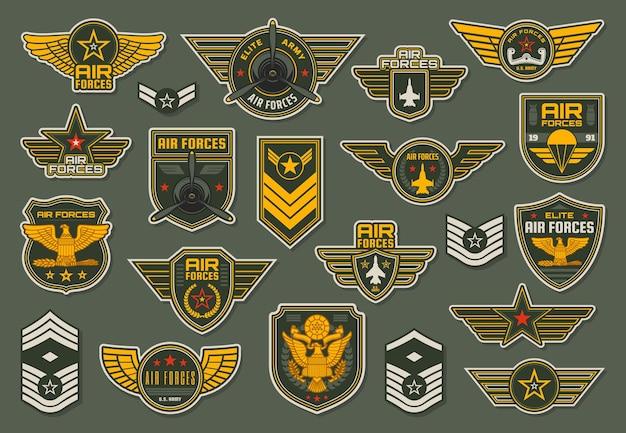 Forças aéreas do exército, emblemas de unidades aerotransportadas e divisas aladas