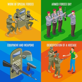 Forças militares especiais com identificação de reféns de armas e equipamentos
