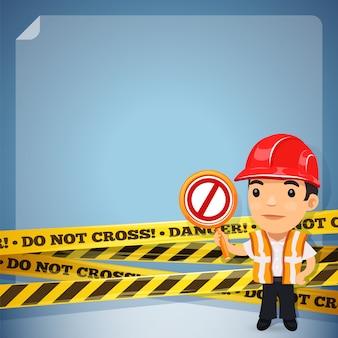 Foreman com fitas de perigo