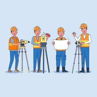 Foreman planeja o trabalho de construção com uma equipe de topógrafos com vários teodolitos
