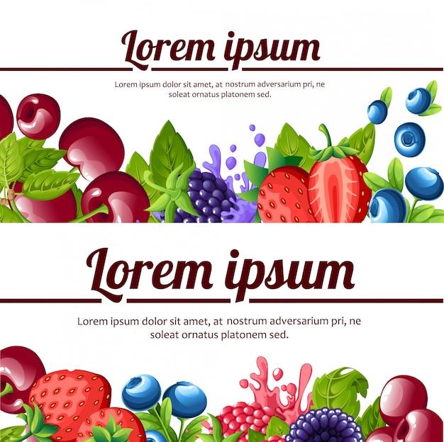 Forest berrys. frutas doces. morangos, mirtilos, cereja amoras, framboesas. ilustração. lugar para o seu texto. página do site e aplicativo para celular