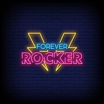 Forever rocker neon signs estilo de texto