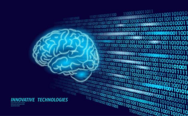 Forma 3d digital da educação mental do cérebro humano