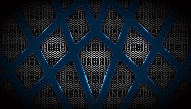 Forma abstrata brilhante com rede metálica hexagonal de sobreposição