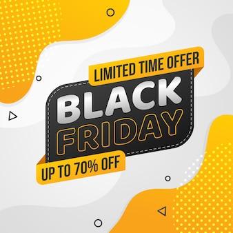 Forma abstrata de design plano preto sexta-feira amarela para promoção de venda