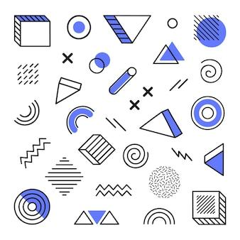 Forma abstrata geométrica diferente desenhada à mão.