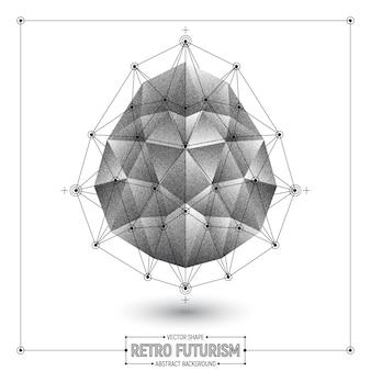 Forma abstrata poligonal de futurismo retrô vector