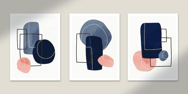 Forma abstrata pôsteres arte mão desenhada formas cobre coleção definida para decoração de impressão de parede