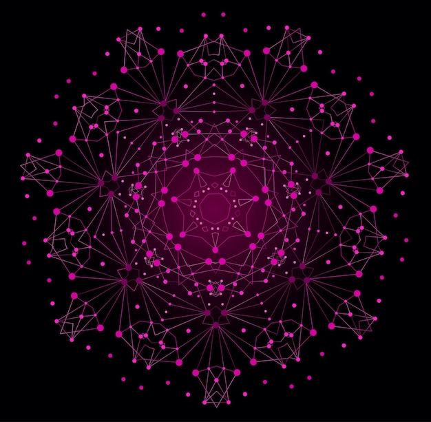 Forma brilhante colorida de vetor, estrutura molecular com linhas e pontos de fundo.