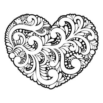 Forma coração de redemoinhos e elementos florais.