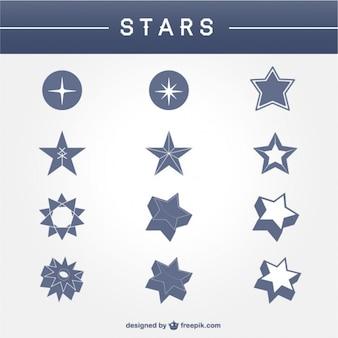 Forma da estrela logotipos abstratos definidos