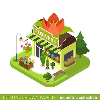 Forma da flor da floricultura construindo o conceito de bens imobiliários.