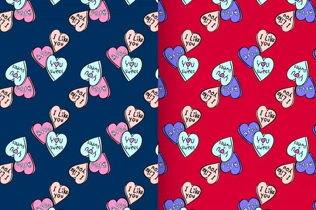 Forma de amor com padrão vector set