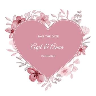Forma de amor elegante com bela moldura rosa roxa