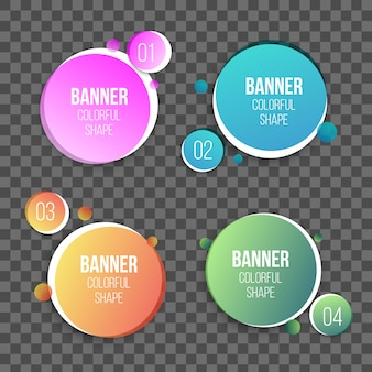 Forma de caixas de texto círculo colorido, banners redondos.