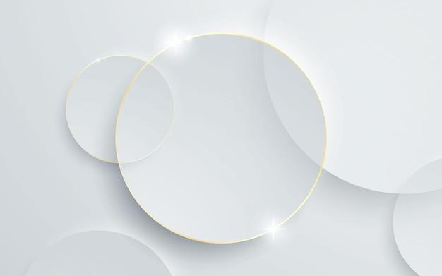 Forma de círculo de fundo branco com efeito de linha dourada