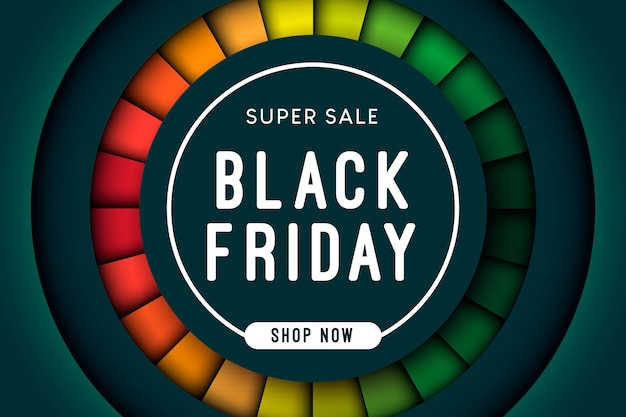 Forma de círculo de super venda de sexta-feira negra com camada colorida