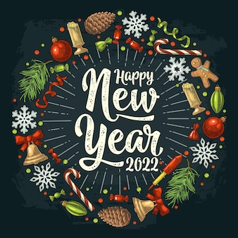 Forma de círculo definida com feliz ano novo de 2022 letras vector cor vintage, gravura em preto