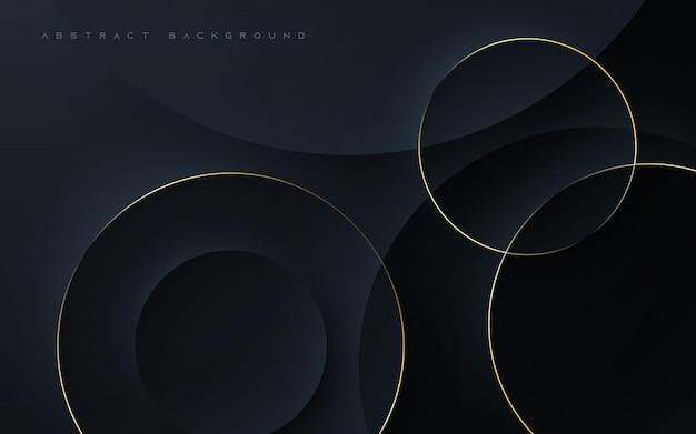Forma de círculo elegante de fundo abstrato preto Vetor Premium