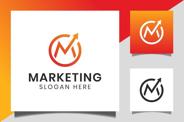 Forma de círculo, letra m, com seta de estatísticas para cima ou ícone de crescimento para início de empresa, modelo de logotipo de marketing