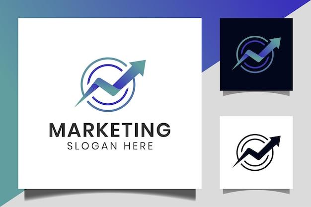 Forma de círculo, letra n, com seta de estatísticas para cima ou ícone de crescimento para início de empresa, modelo de logotipo de marketing