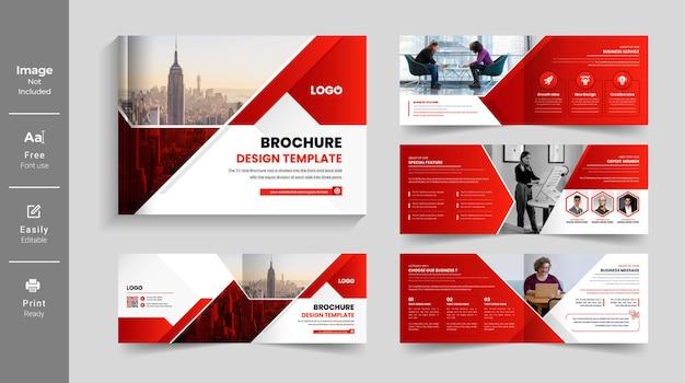 Forma de cor vermelha paisagem perfil da empresa modelo de folheto ou modelo de design de folheto de várias páginas