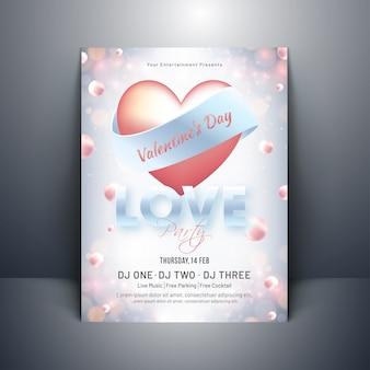 Forma de coração brilhante com tipografia de amor na pérola decorada ba