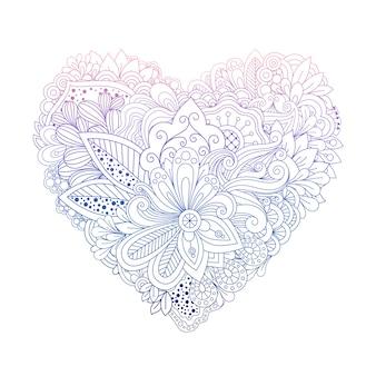 Forma de coração colorido doodle floral em branco