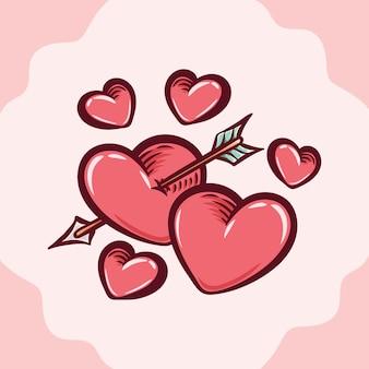 Forma de coração com flecha